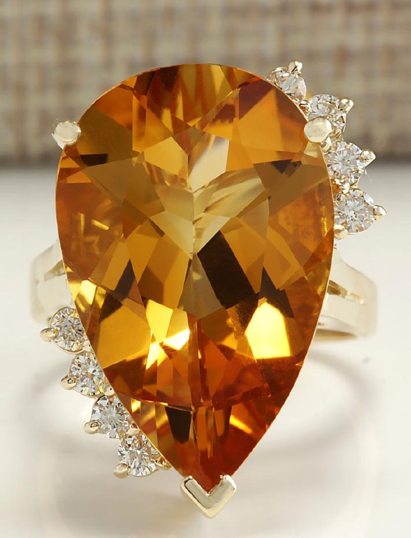13.75Carat Natural Citrine And Diamond Ring 18K Solid