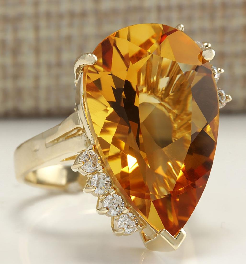 13.75Carat Natural Citrine And Diamond Ring 18K Solid - 2