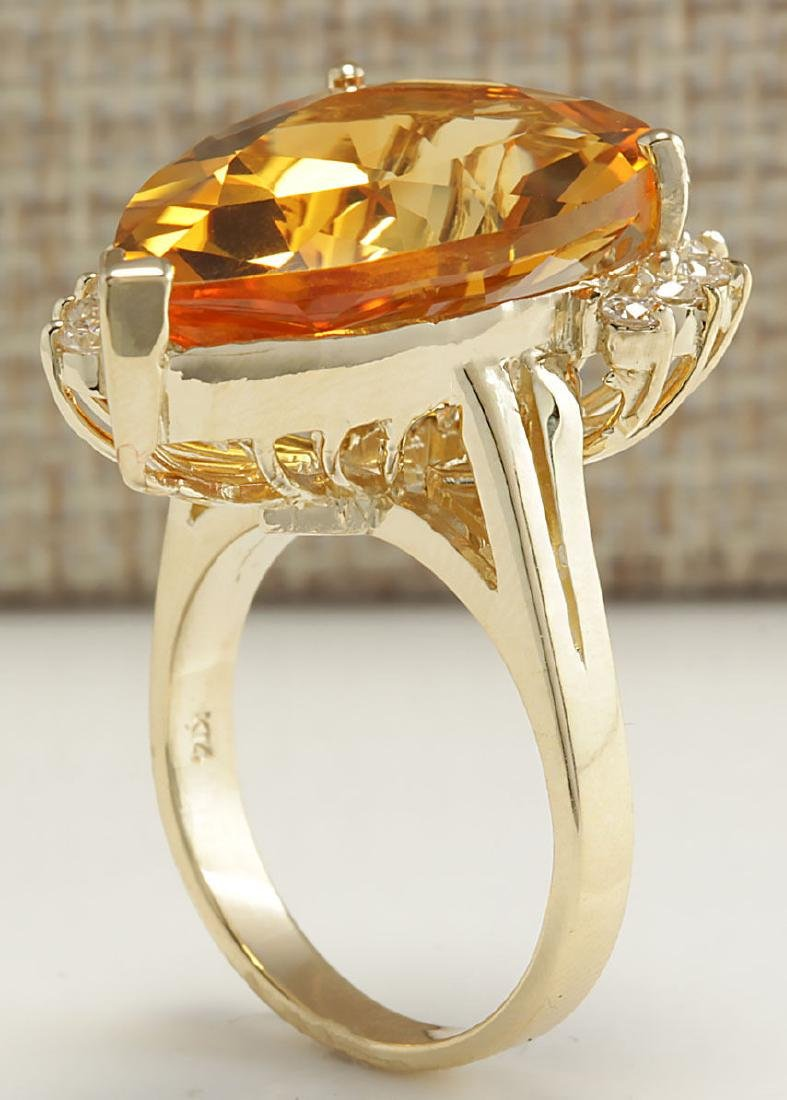13.75Carat Natural Citrine And Diamond Ring 18K Solid - 3
