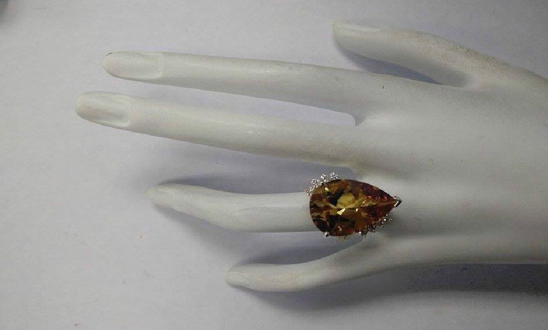 13.75Carat Natural Citrine And Diamond Ring 18K Solid - 4