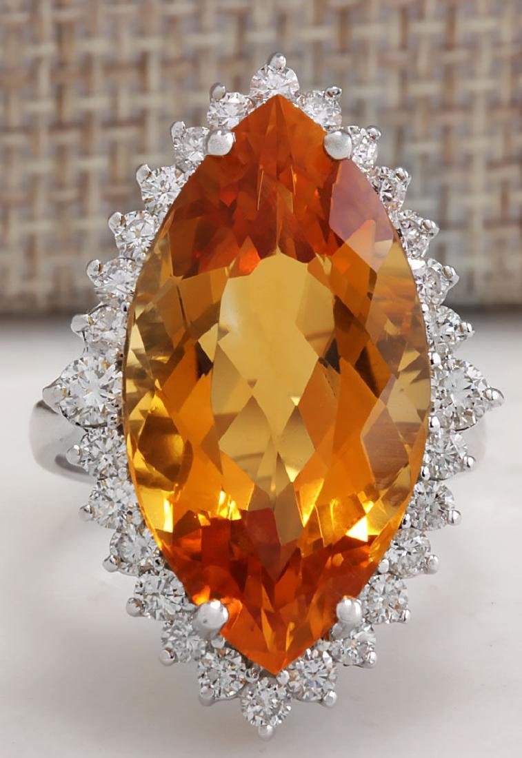 15.34Carat Natural Citrine And Diamond Ring 18K Solid