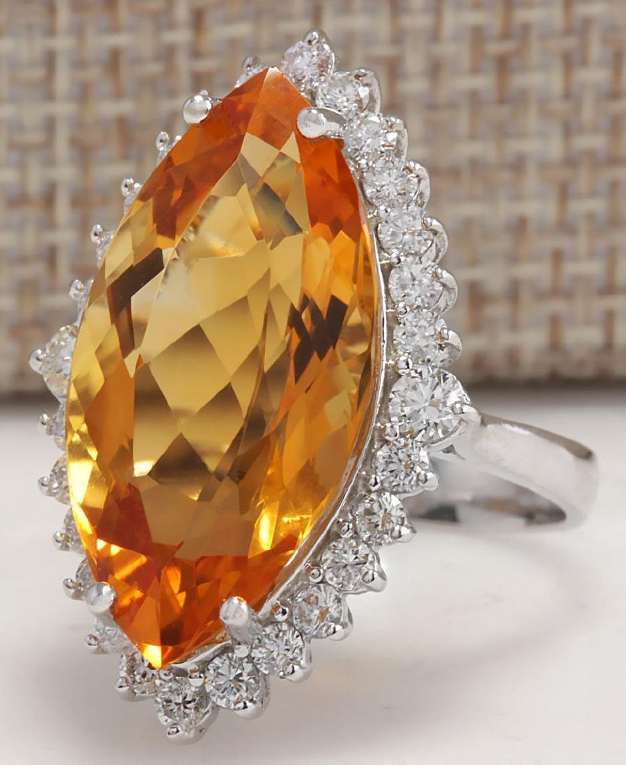 15.34Carat Natural Citrine And Diamond Ring 18K Solid - 2
