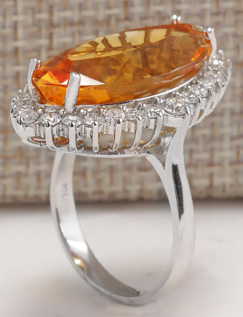 15.34Carat Natural Citrine And Diamond Ring 18K Solid - 3