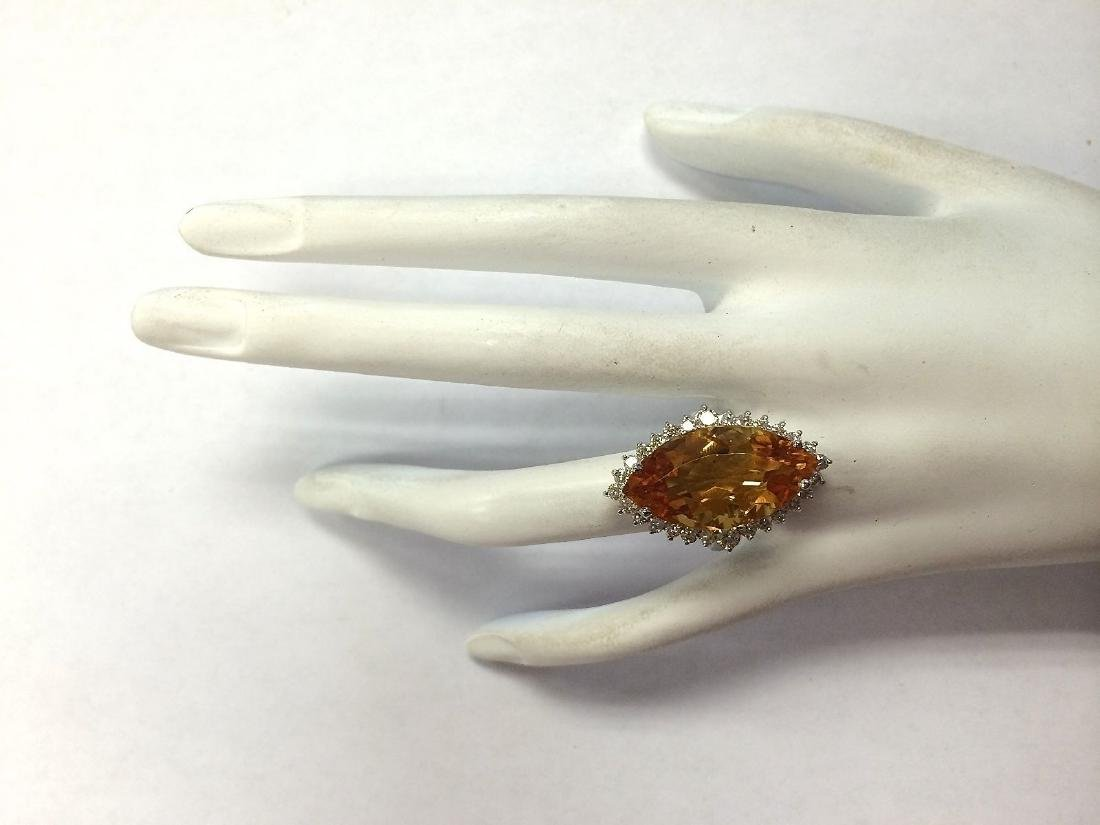15.34Carat Natural Citrine And Diamond Ring 18K Solid - 4