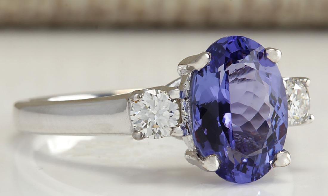 2.81Carat Natural Tanzanite And Diamond Ring 18K Solid - 2