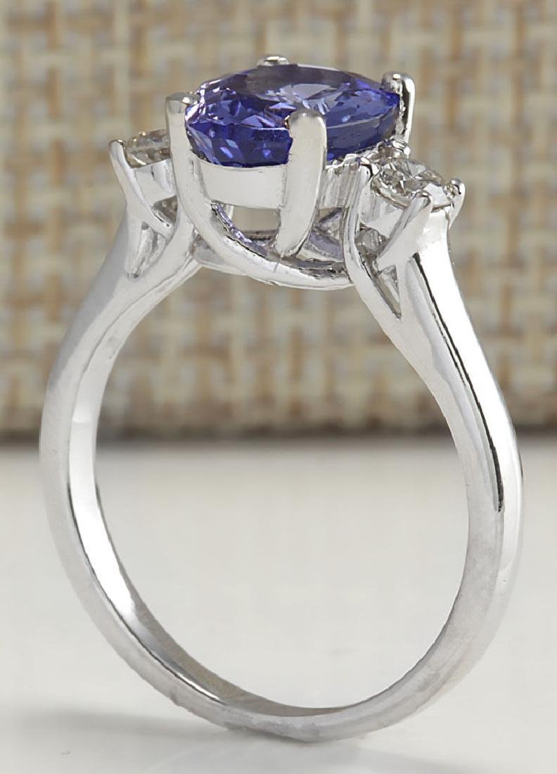 2.81Carat Natural Tanzanite And Diamond Ring 18K Solid - 3
