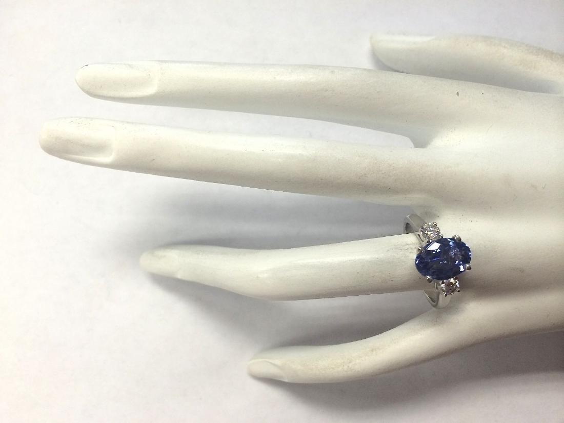 2.81Carat Natural Tanzanite And Diamond Ring 18K Solid - 4