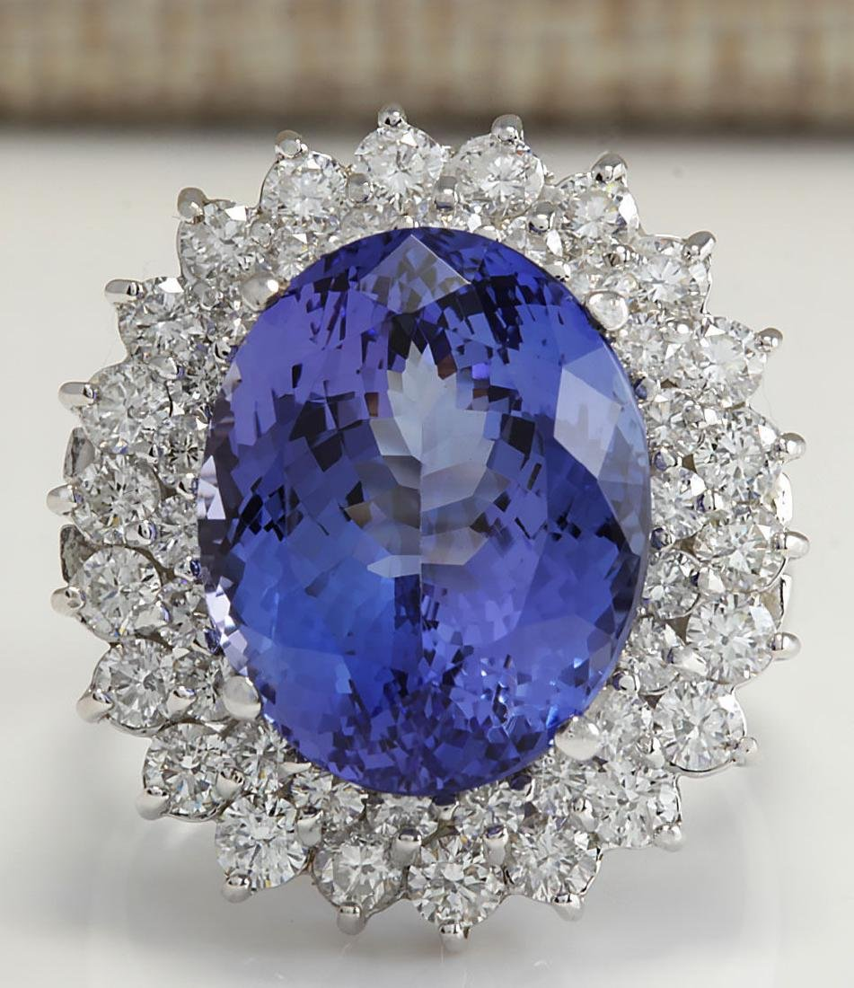 11.11Carat Natural Tanzanite And Diamond Ring 18K Solid