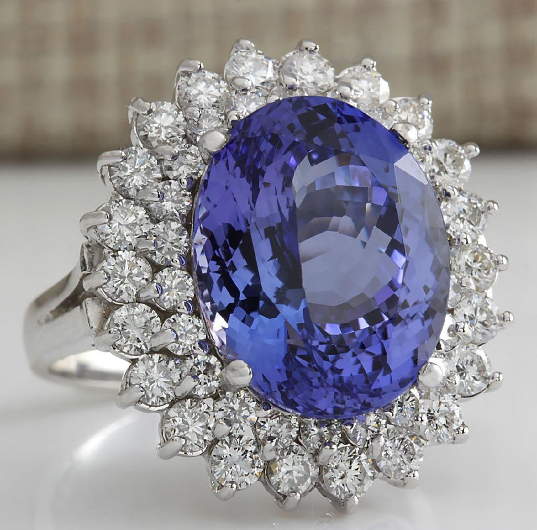 11.11Carat Natural Tanzanite And Diamond Ring 18K Solid - 2