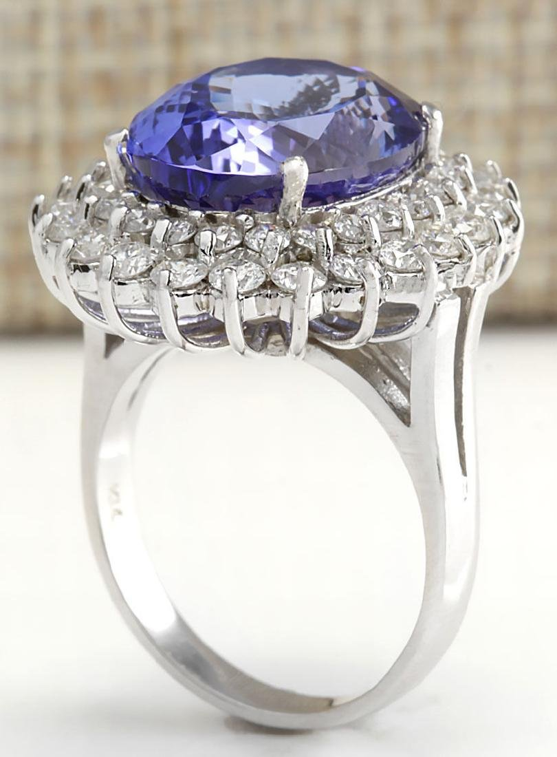 11.11Carat Natural Tanzanite And Diamond Ring 18K Solid - 3