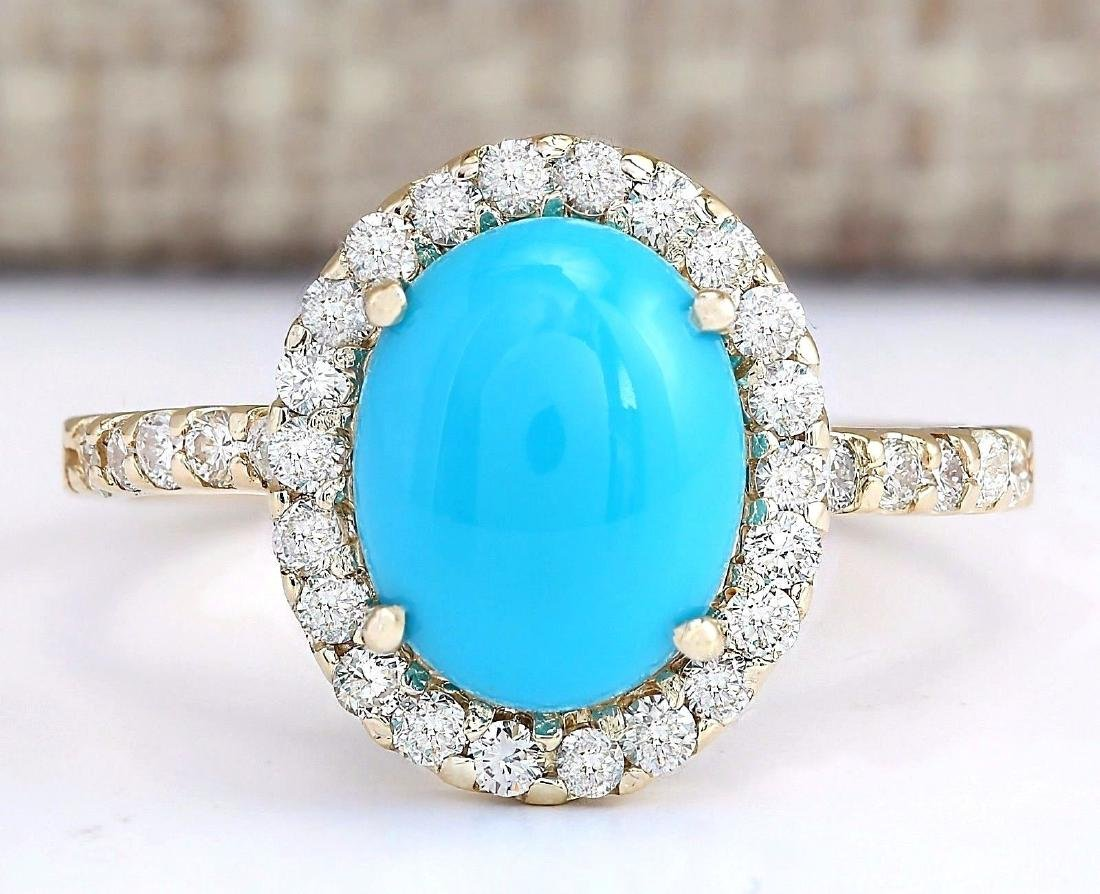 2.67 Carat Natural Turquoise And Diamond Ring In 18K