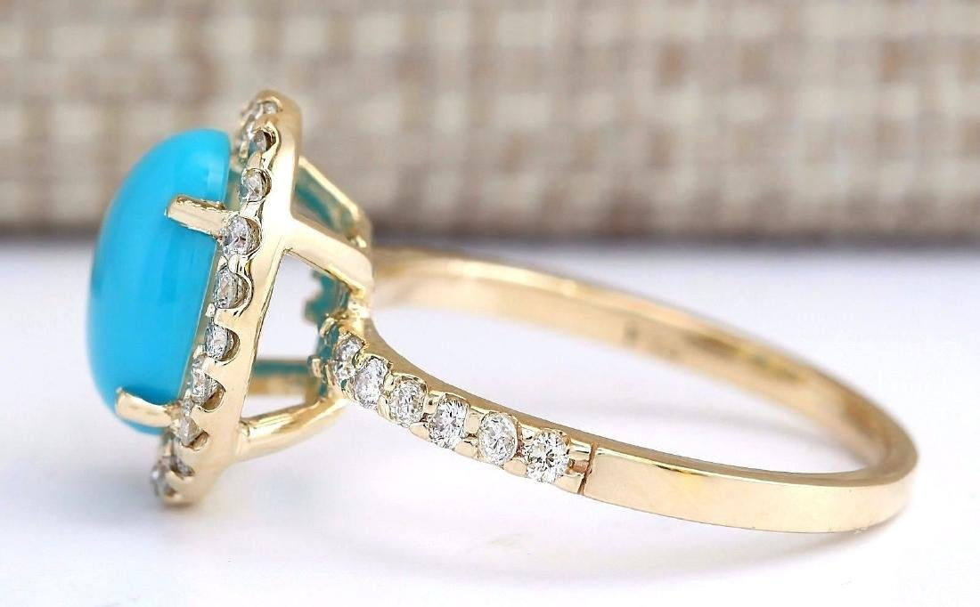 2.67 Carat Natural Turquoise And Diamond Ring In 18K - 2