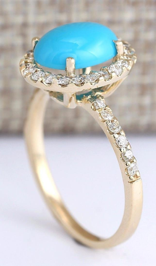 2.67 Carat Natural Turquoise And Diamond Ring In 18K - 3