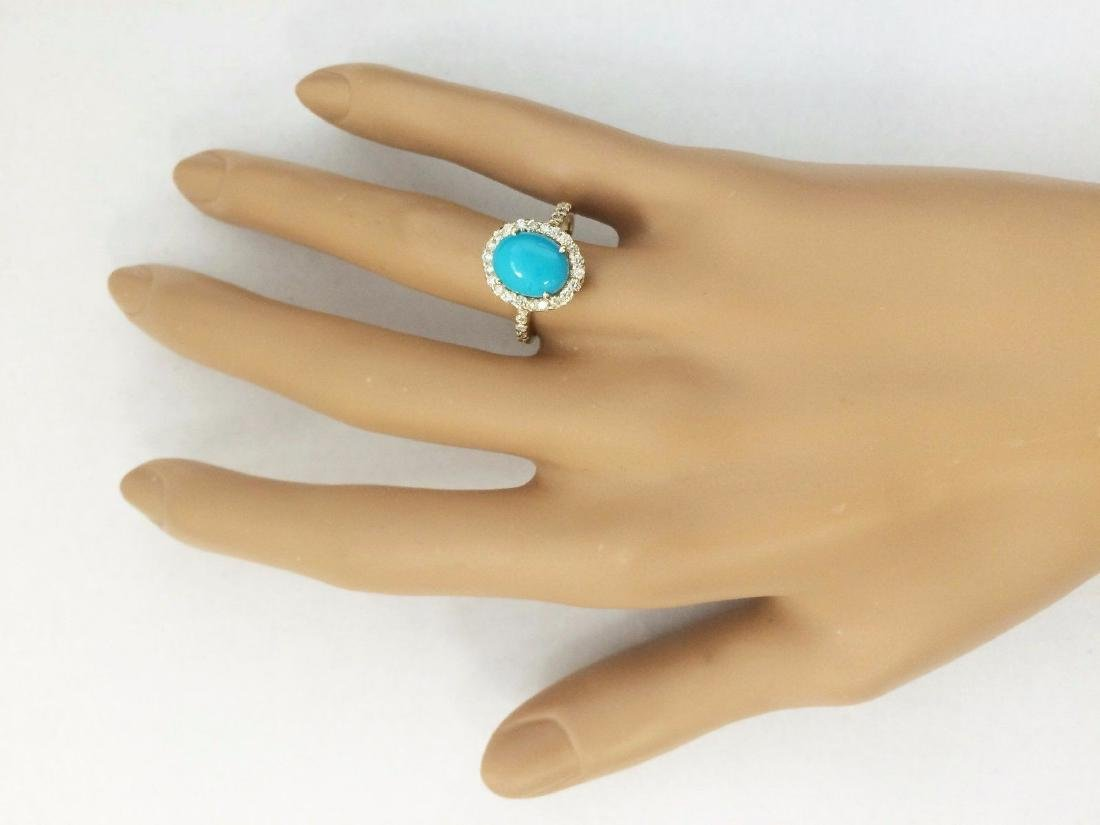 2.67 Carat Natural Turquoise And Diamond Ring In 18K - 4