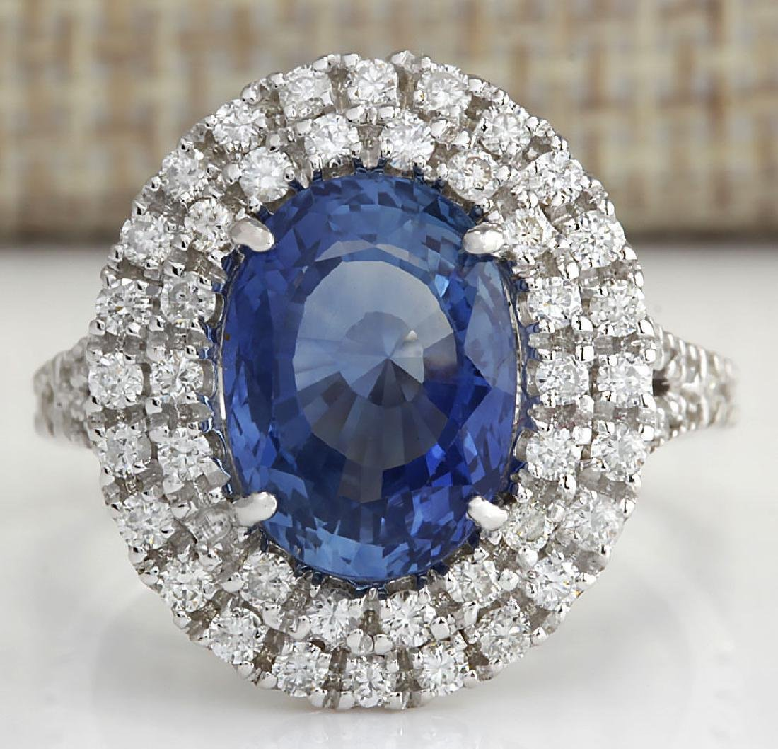 6.31 Carat Natural Sapphire And Diamond Ring In 18K