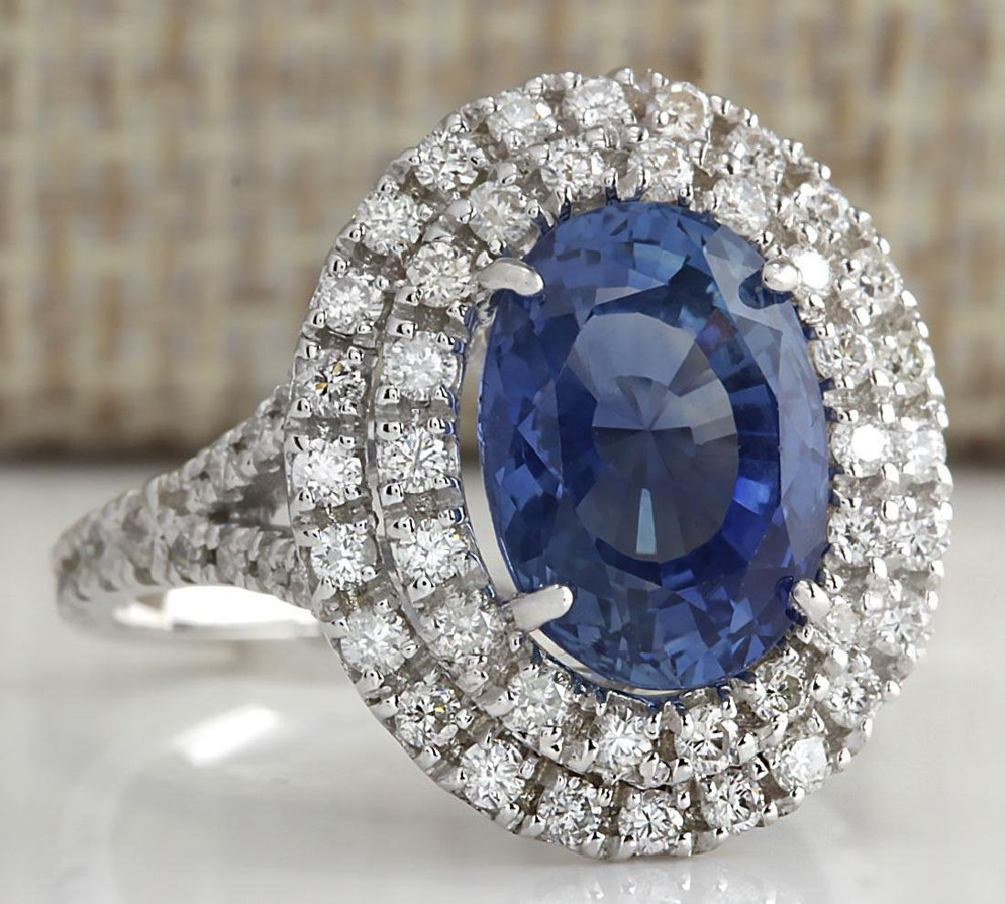 6.31 Carat Natural Sapphire And Diamond Ring In 18K - 2