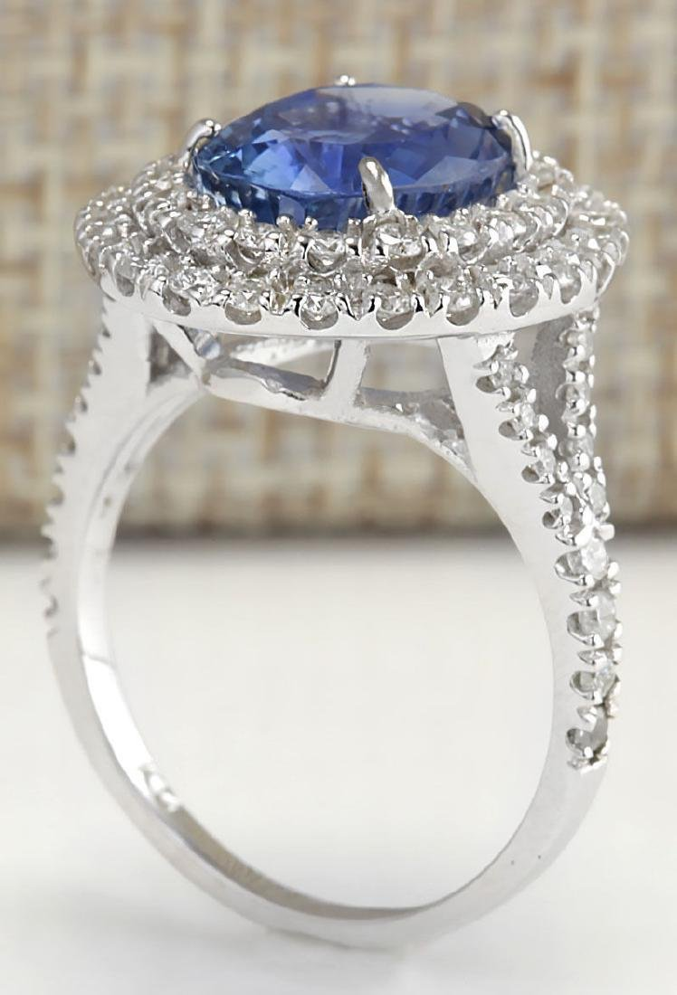 6.31 Carat Natural Sapphire And Diamond Ring In 18K - 3