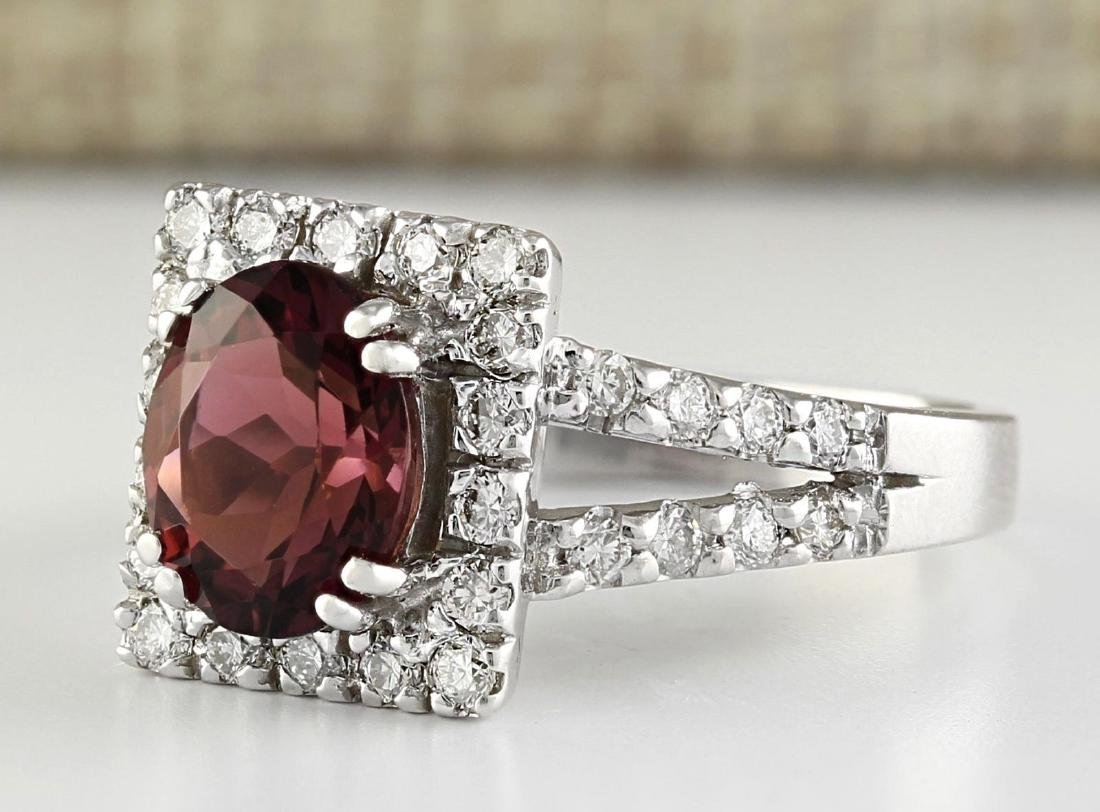 2.77 Carat Natural Pink Sapphire And Diamond Ring In - 2