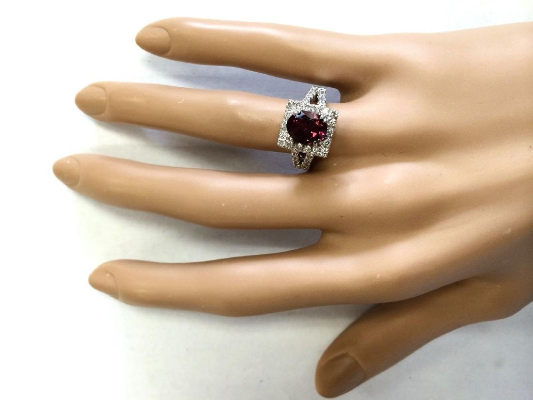 2.77 Carat Natural Pink Sapphire And Diamond Ring In - 4