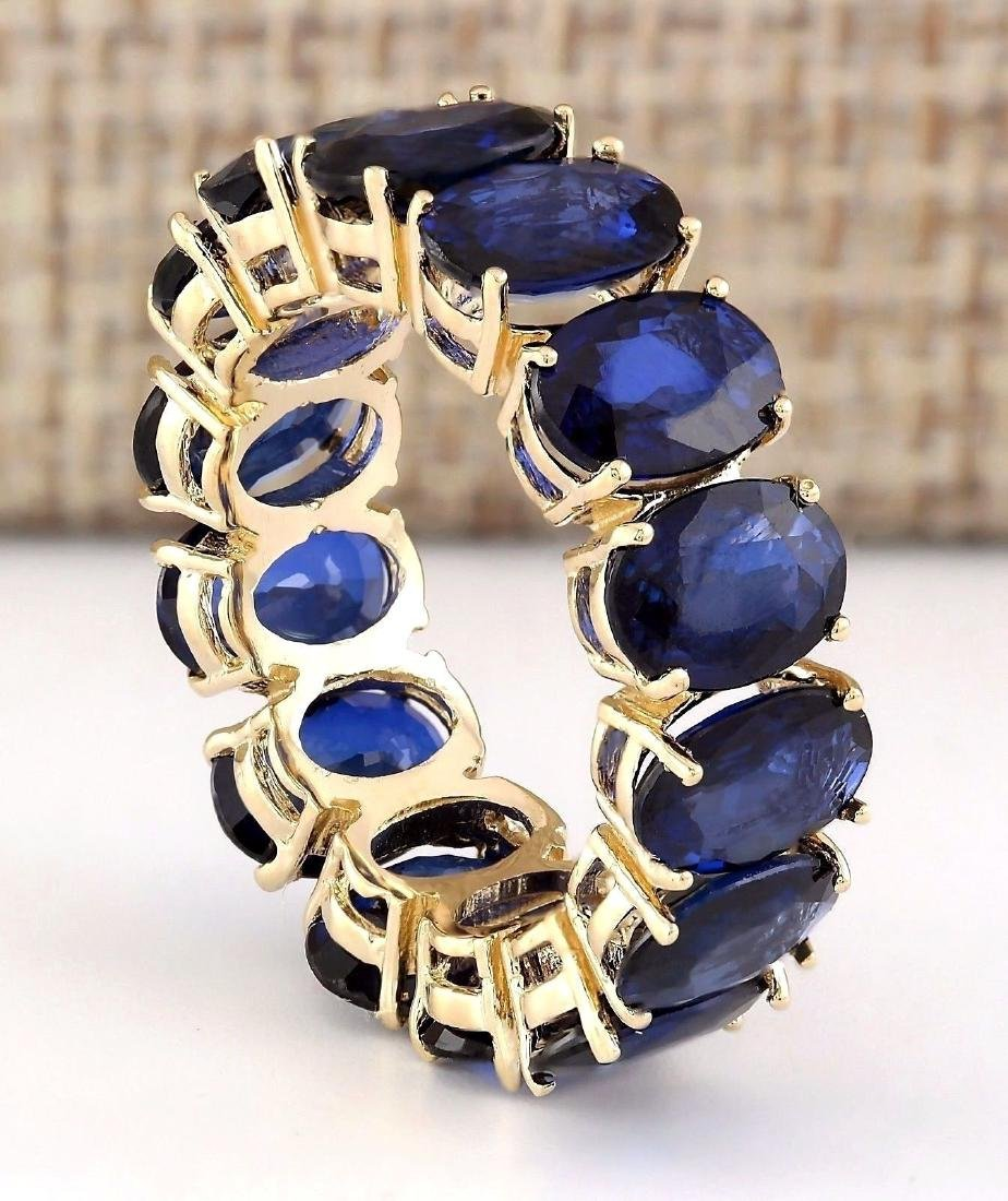 11.20 Carat Natural Sapphire Ring In 18K Yellow Gold - 3