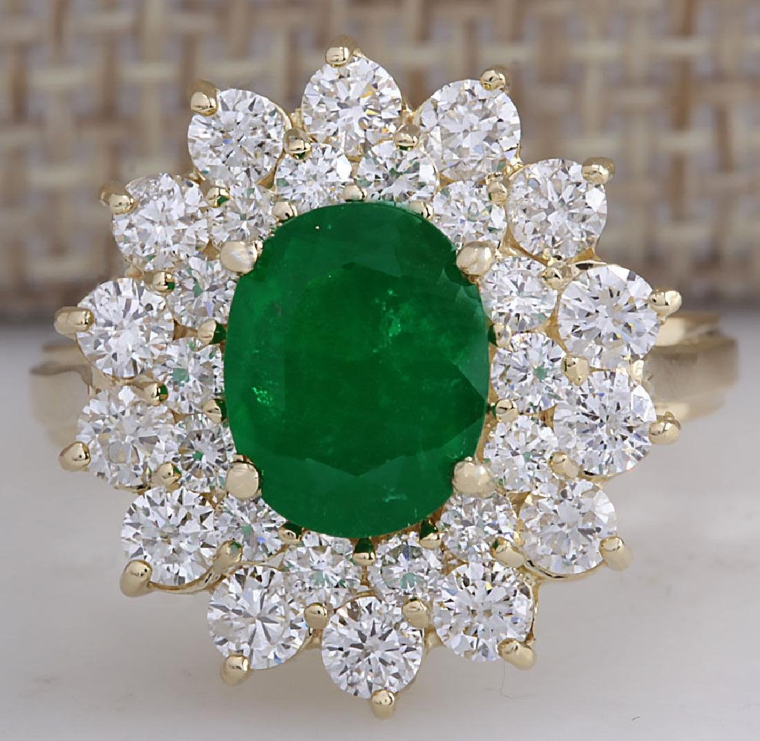 3.11Carat Natural Emerald And Diamond Ring 18K Solid