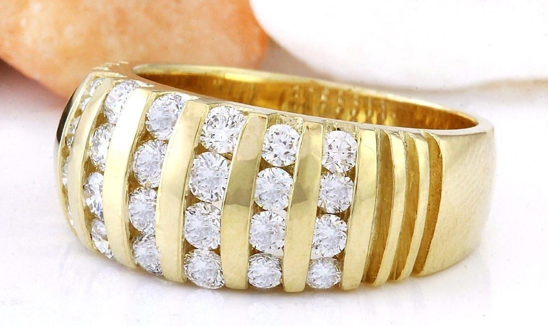 1.55 Carat Natural Diamond 18K Solid Yellow Gold Ring - 2