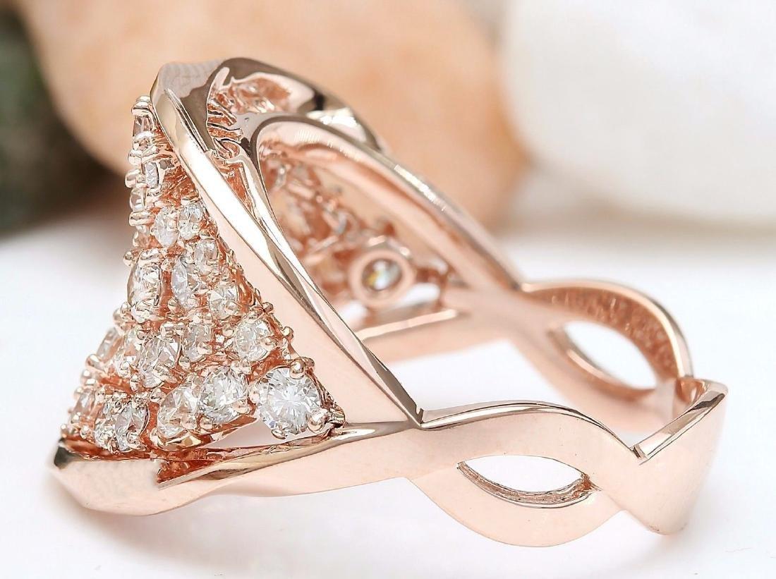 1.40 Carat Natural Diamond 18K Solid Rose Gold Ring - 3