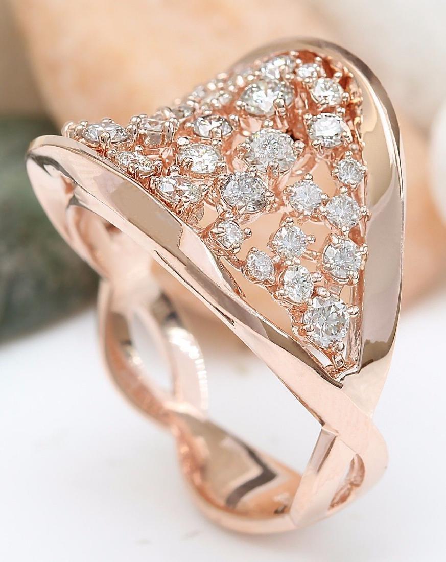 1.40 Carat Natural Diamond 18K Solid Rose Gold Ring - 5