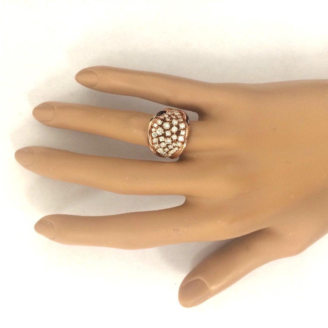 1.40 Carat Natural Diamond 18K Solid Rose Gold Ring - 6