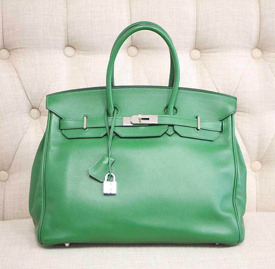 b438960b0cce Authentic Hermes Paris Birkin Green Leather Purse