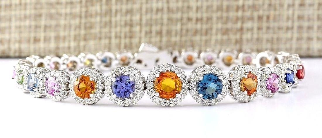 10.79 Carat Natural Sapphire And Diamond Bracelet In