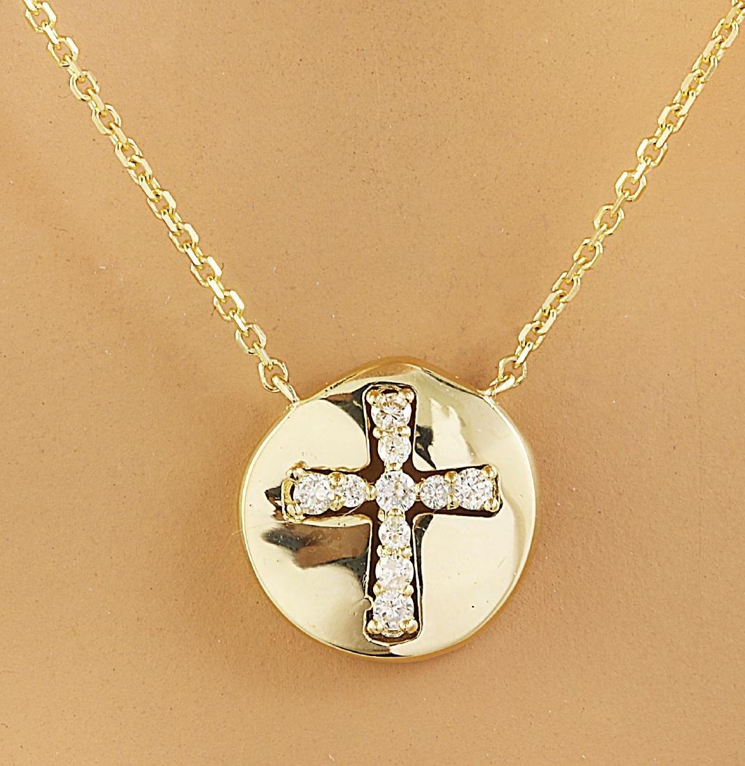 0.18 Carat Diamond 18K Yellow Gold Cross Medallion