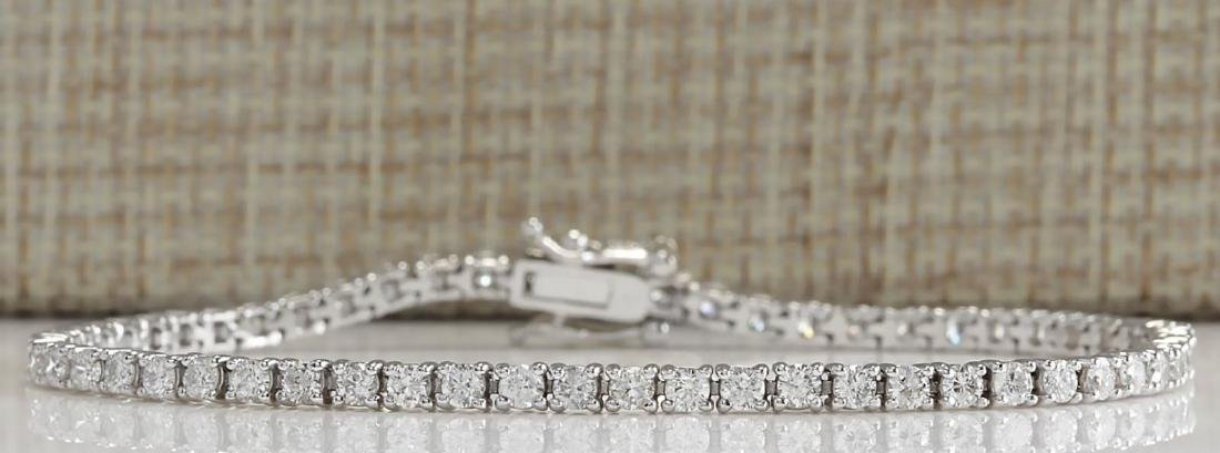 3.55 Carat Natural Diamond Bracelet In 18K Solid White