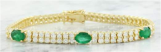 732 Carat Emerald 18K Yellow Gold Diamond Bracelet