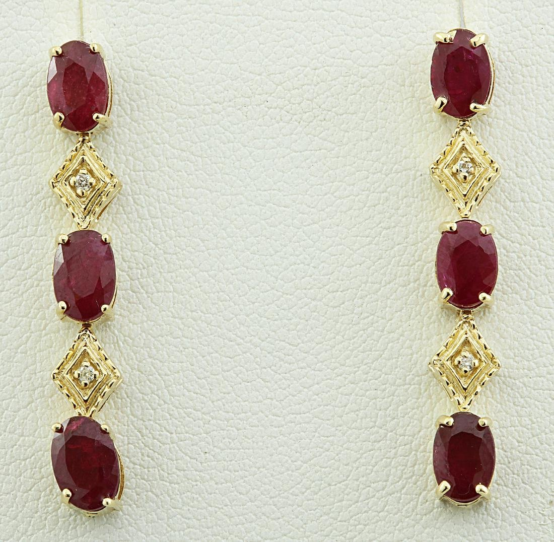 2.65 Carat Ruby 18K Yellow Gold Diamond Earrings