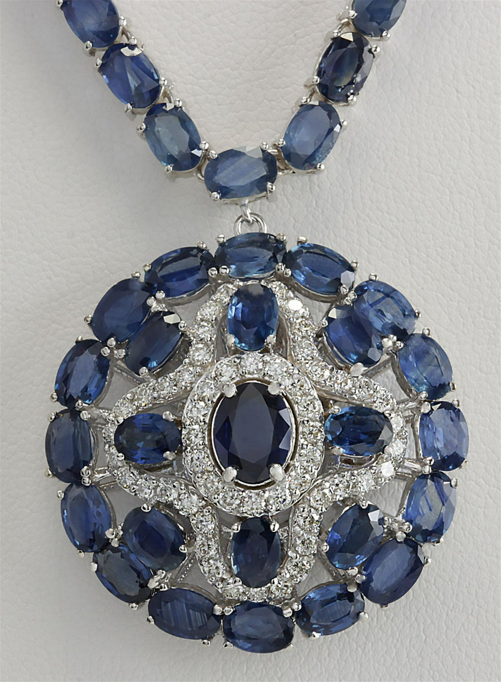 57.24Carat Natural Blue Sapphire And Diamond Necklace