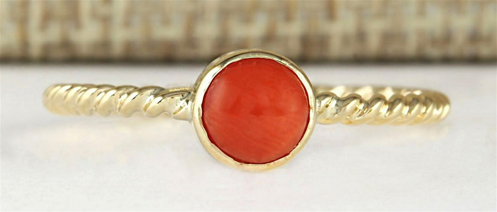 1.00 Carat Natural Coral Ring In 18K Yellow Gold