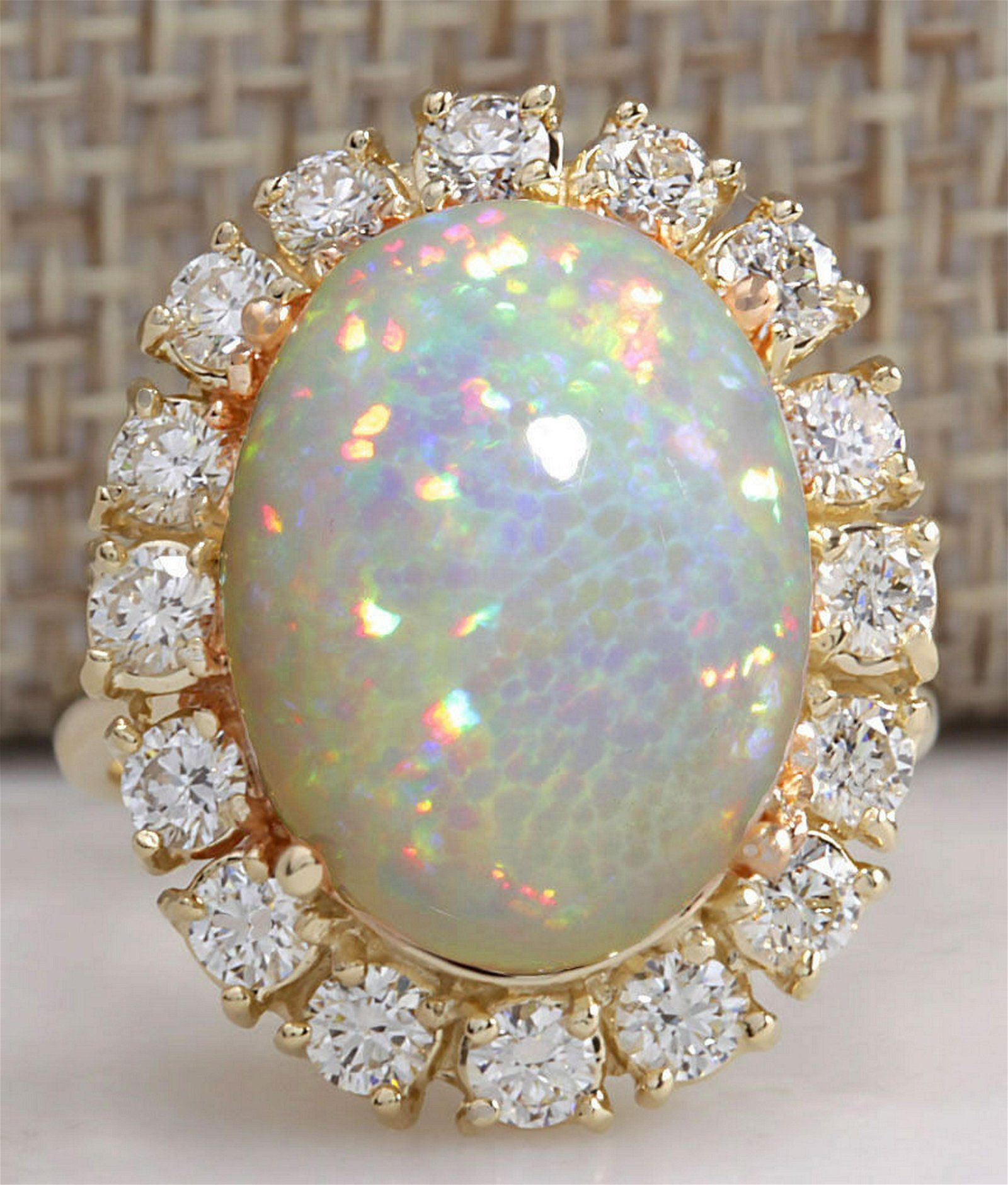 8.03 Carat Natural Ethiopian Opal And Diamond Ring In