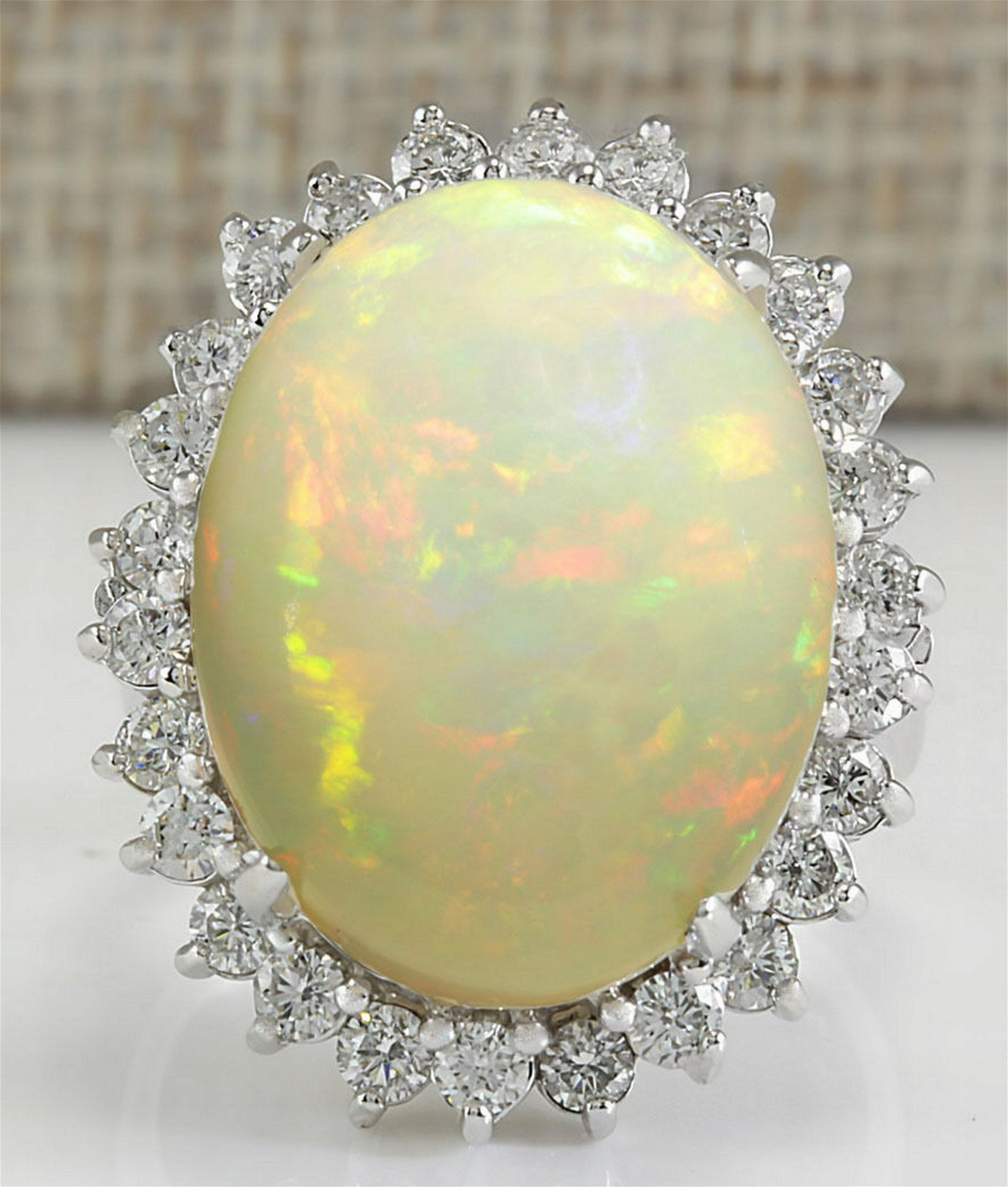 13.65Carat Natural Ethiopian Opal And Diamond Ring In