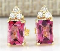 265 Carat Natural Pink Tourmaline And Diamond Earrings