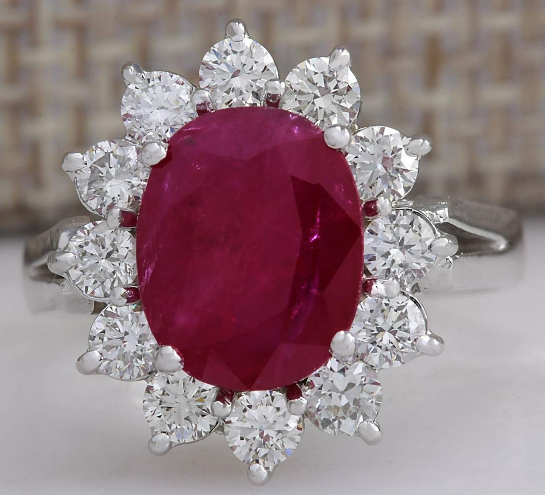 4.03Carat Natural Red Ruby Diamond Ring 18K Solid White