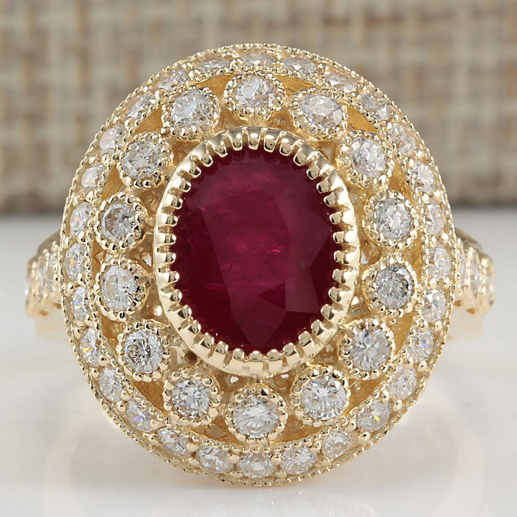 3.64 Carat Natural Ruby Diamond Ring 18K Solid Yellow
