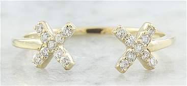 010 Carat Diamond 18K Yellow Gold Double X Open Front