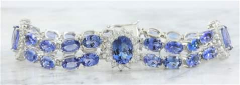 25.20 Carat Tanzanite 18K white Gold Diamond Bracelet