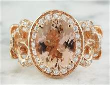 450 CTW Morganite 14 K Rose Gold Diamond Ring