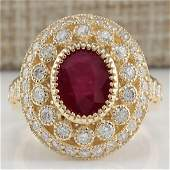 364 CTW Natural Ruby Diamond Ring 14K Solid Yellow