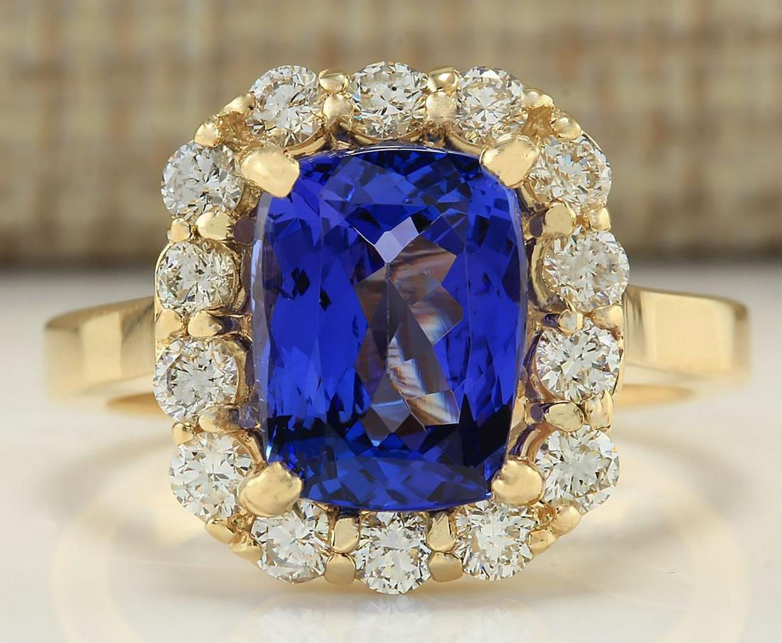 4.15 CTW Natural Tanzanite And Diamond Ring In 18K