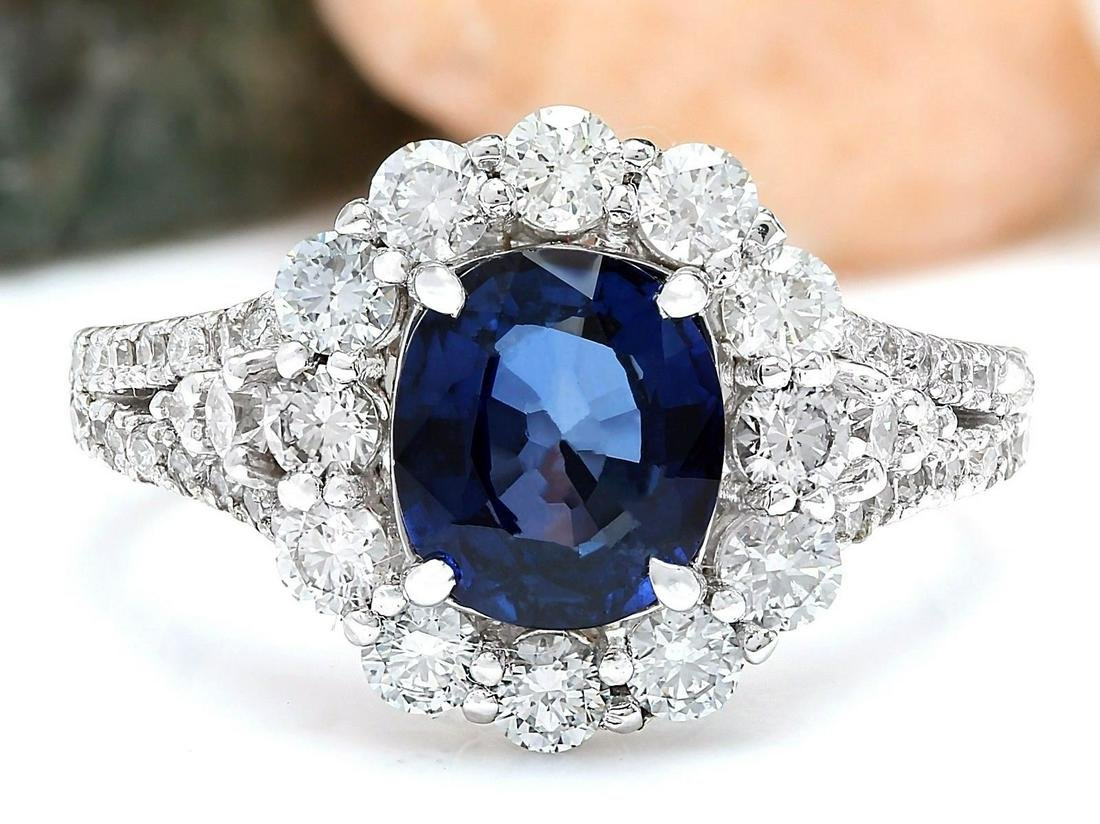 3.23 CTW Natural Sapphire 14K Solid White Gold Diamond