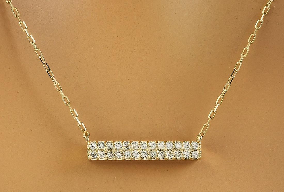0.40 CTW Diamond 14K Yellow Gold Double Bar Necklace