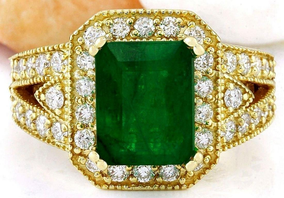 4.35 CTW Natural Emerald 14K Solid Yellow Gold Diamond